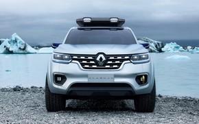 Picture shore, silver, Renault, front view, pickup, 2015, Alaskan Concept