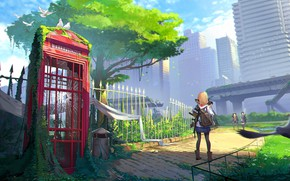 Picture girl, street, anime