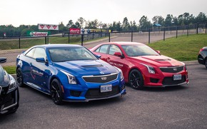 Picture car, machine, machine, Cadillac, tuning, Parking, red, front, red car, blue, wheel, blue car, american …