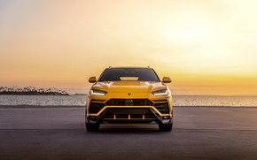 Picture beach, sunset, the evening, Lamborghini, front view, Vorsteiner, crossover, Urus, 2019