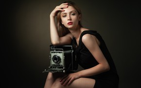 Picture girl, pose, style, background, portrait, hands, makeup, dress, the camera, Sergei Martynov, Nastya Panova