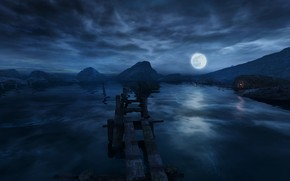 Picture Dear Esther, Dear Esther, night on the lake, Polnolunie