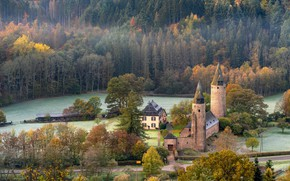 Picture road, autumn, forest, trees, castle, ate, house, architecture, the