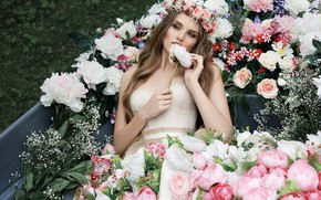 Picture girl, flowers, boat, Eugene, bouquets, Светлана Бойнович