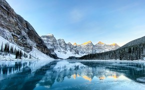 Picture the sky, water, snow, mountains, lake, reflection, Canada, forest, Canada, nature, reflections, Moraine Lake, Moraine