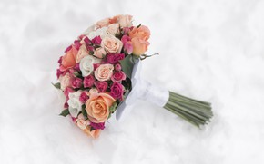 Picture flowers, roses, bouquet, pink, flowers, wedding bouquet, bouquet, roses, wedding