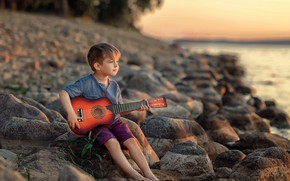 Picture nature, stones, shore, guitar, boy, guitarist, child, Victoria Dubrovskaya