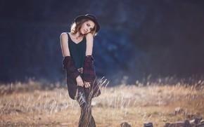 Picture look, girl, pose, smile, hat, chain, Alexander Glockner