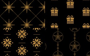 Picture snowflakes, background, gold, black, gifts