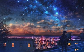 Picture girl, night, the city, Starfall