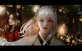 Picture girls, bokeh, traditional clothing