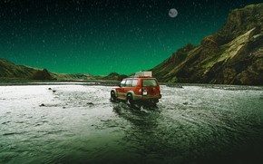 Picture machine, auto, water, mountains, nature, rendering, the moon, jeep, photoart
