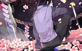 Picture back, katana, rope, cloak, Sasuke Uchiha, Naruto Shippuden, Naruto shippuuden, the cherry blossoms