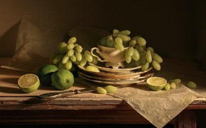 Picture the dark background, grapes, knife, plates, dishes, lime, still life, items