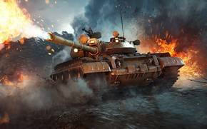 Picture fire, The game, Smoke, Fire, War, Flame, Tank, Shot, Technique, War Thunder, WarThunder, T-55, Volley, ...