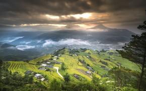 Picture Nature, Clouds, Mountains, Village, Figure, Field, Landscape, Vietnam, Terrace