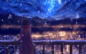 Picture winter, the sky, snow, mountains, night, the city, drawings, girl