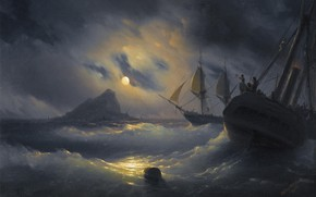 Picture picture, seascape, 1844, Ivan Aivazovsky, Gibraltar By Night