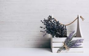 Picture wood, lavender, composition, bouquets