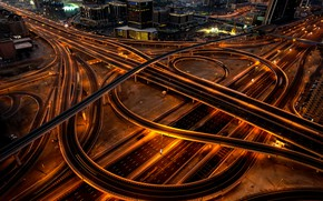 Picture road, line, night, the city, lights, darkness, movement, home, skyscrapers, highway, Dubai, architecture, bridges, night, …