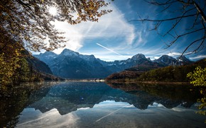 Picture autumn, the sun, trees, landscape, mountains, nature, lake, reflection, Austria, Almsee, Else