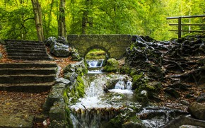 Picture Nature, Bridge, Trees, River, Forest, Stones, Stream, Moss