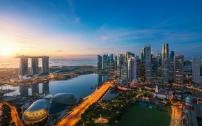 Picture field, the city, lake, building, panorama, Singapore, Singapore, Singapore city