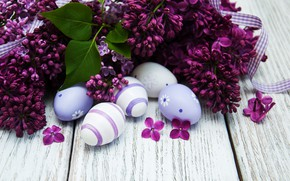 Picture flowers, eggs, Easter, happy, wood, flowers, lilac, Easter, purple, eggs, decoration, lilac