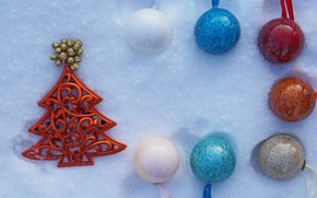 Picture winter, balls, holiday, balls, toys, Christmas, New year, tree, herringbone, light background, red, colorful, blue …