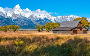 Picture field, mountains, house, USA, Grand Teton