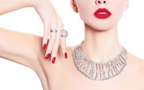Picture girl, model, hand, ring, lips, necklace, Elena Rossi