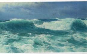 Picture sea, birds, wave, JAMES, ATLANTIC ROLLERS
