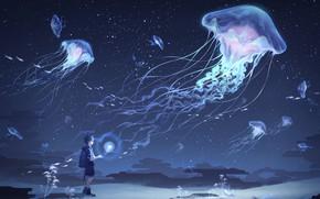 Picture clouds, child, Medusa