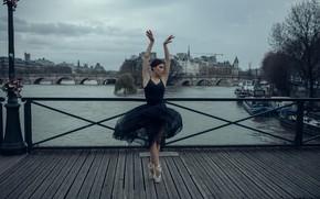 Picture the sky, water, girl, bridge, the city, pose, river, ballerina, Pointe shoes, Anna Shuvalova