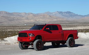 Picture sand, car, machine, mountains, desert, tuning, Dodge, red, red, side, red car, tuning, wheel, tinted, …