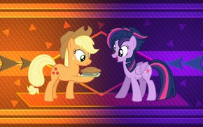 Picture background, girls, pair, pony, My Little Pony