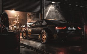 Picture Black, Machine, AUDI, Garage, Car, Render, Drives, Rendering, Black color, Tires, Transport & Vehicles, AUDI …