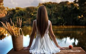 Picture water, basket, calm, Girl, sitting, Sergii Dudko