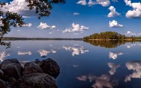 Picture forest, clouds, branches, lake, reflection, stones, panorama, Finland, Finland, Boiler Lake Lake, Lake Katelari