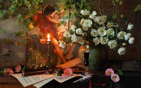 Picture girl, light, flowers, wine, glass, roses, candle, bouquet, picture, briar, still life, the young man