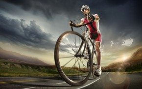 Wallpaper road, the sky, the sun, clouds, trees, landscape, mountains, clouds, bike, glare, shorts, speed, track, ...