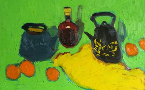 Picture oranges, still life, green background, 2009, yellow fabric, The petyaev, a bottle of cognac, two …