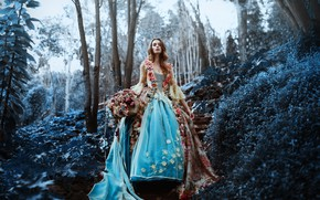 Picture forest, girl, flowers, dress, Ronny Garcia, The last flowers of the season