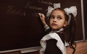 Picture look, dress, girl, form, Board, schoolgirl, school, child, lesson, apron, bows, tails, student, Alexei Batalov