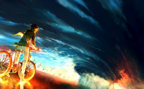 Picture the sky, bike, background, fire, storm, anime, fire, guy, storm, anime, boy, colour, epic