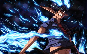 Picture flame, anger, the demon, guy, Ao no Exorcist, Rin, Okumura Rin, Blue Exorcist