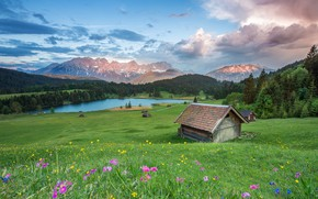 Wallpaper landscape, the sky, summer, blue, meadow, pond, tops, nature, clouds, forest, forest, river, hills, Alpine ...