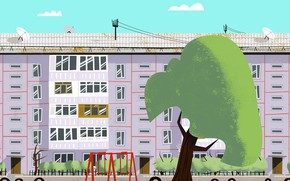 Picture Tree, The city, House, The building, Art, Tree, Cartoon, by Andrey Syailev, Andrey Syailev, Courtyard
