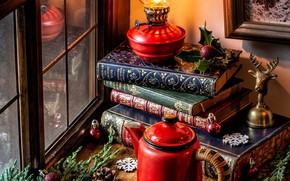 Picture balls, snowflakes, branches, books, lamp, kettle, window, Christmas, bump