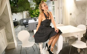 Picture girl, pose, smile, model, dress, kitchen, shoes, on the table
